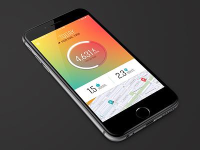 Walkadoo experiment step tracking health fitness wellness iphone app ui mobile progress bar map