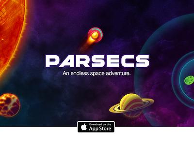 Parsecs Game ios game space adventure art ui apple planets sun asteroids