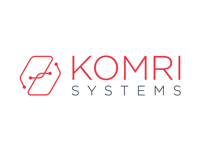 Komri Systems logo system circuit technology high tech software red branding identity logo