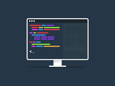 Programming icon coding illustration website computer color flat symbol icon programming