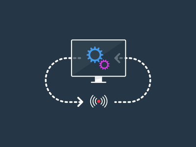 Control systems icon illustration website computer lines gear system flat symbol icon