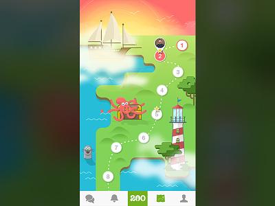 Progression Map octopus ship sea app iphone illustration game map