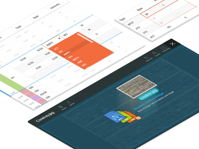 Feature details perspective grid data grid images isometric blowout ui features