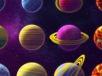 All the planets! outer space rings parsecs aliens illustration game space planet