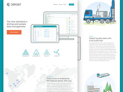 Product Website newspaper app city buildings plane truck mining ui illustration website product