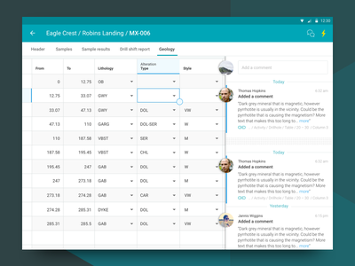 Data Entry material design social feed tabular data data entry mobile ui android table grid data