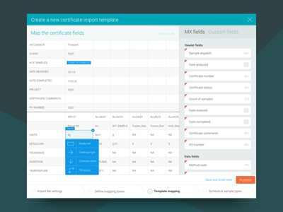 CSV Mapping import csv dropdown map dashboard interface ui chart excel grid table data