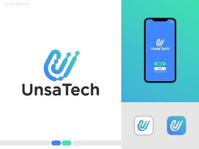 "Tech Logo ""UnsaTech"" logomark vector creative software logo software branding logo design logo illustrator crypto minimal logotype brand identity tech company technology logo startup techno technology tech logo tech"