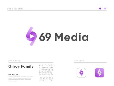 69 Media logo 69 media abstract design popular logo tech logo technology logo startup crypto modern logo abstract logo play logo media logo bitcoin monogram flat branding graphic design technology tech logo design logo