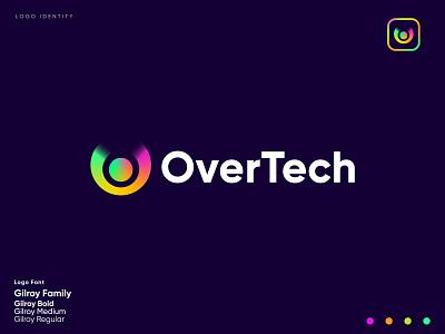 """Tech Logo """" OverTech """" technical techno technologies logo designer software logo letter mark monogram colorful branding design monogram brand logotype modern logo technology logo o logo o logo startup tech logo tech branding"""