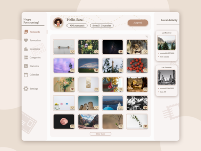 Postcards Gallery cards gallery webdesign website ux ui figma design figma