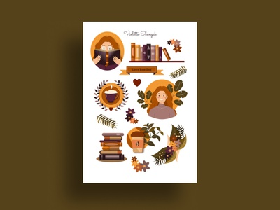 Сute Sticker Pack books coffee cup girl stiker stickers art vector illustration logo figma