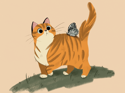 Dune and her new friend ^^ animals summer cute butterfly cat procreate illustration