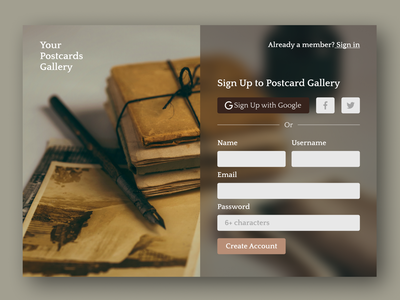 Page for registration in the Postcards Gallery! ux ui page signup branding design figma