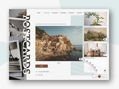 Take a closer look at your postcard! postcarg page website ux design art ui figma