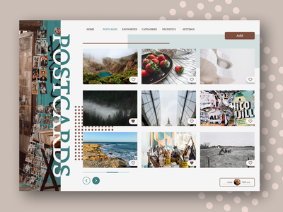All your postcards are here! postcards website graphic design branding vector ui design figma art