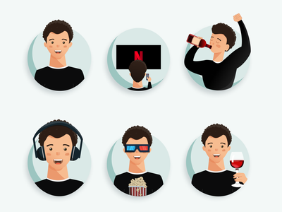 Funny Avatars vector wine boy avatar avatars ux ui design figma art illustration