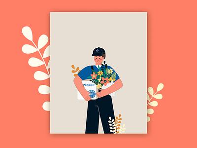 Greeting Card flowers man boy spring postcard card vector design figma art illustration