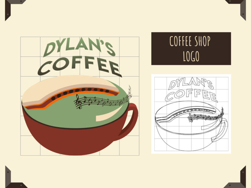 Dylans Coffee Logo Design- Coffee shop inspired dailylogochallenge typography illustration design logotype designer required logodesigner logoinspirations harmonica bob dylan logodesign logo coffeeshop