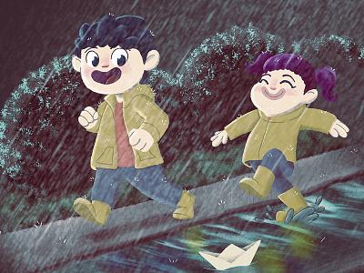 Rain character design character childrens book childrens art children art childbook illustration childhood