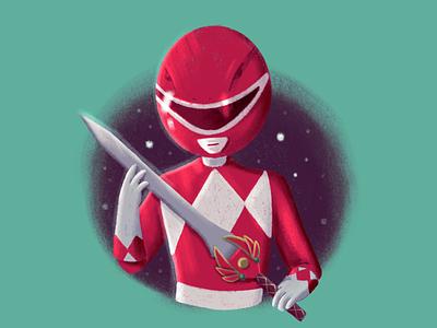 Red childhood week childhood vintage television sword red red ranger power rangers illustrator illustration