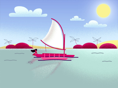Summer summer aftereffects animation 2d animation boat island motion graphics motion vector illustration