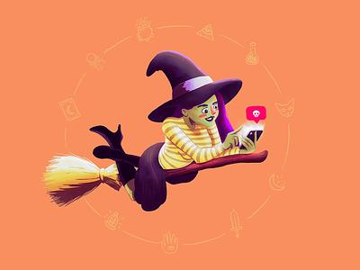 Insta-Witch illustrator witch millennial app instagram social media character halloween illustration
