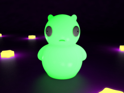 Glow in the dark Kuchi | Cinema 4D illustration character lighting render c4d 3d 3d art vinyl toy bobs burgers cinema4d art cinema4d