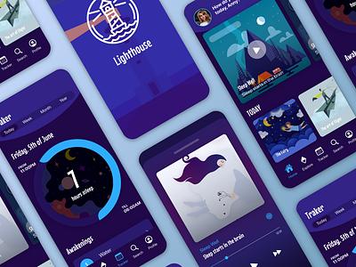 Sleep app with tracker sleep story meditation sleepless sleep ui design ux illustration