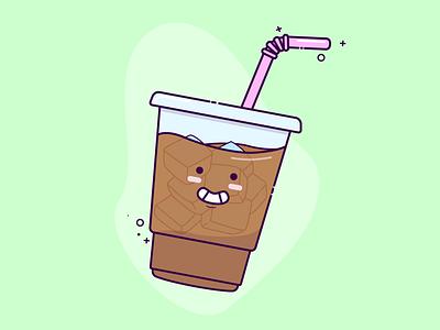 Kawaii Iced Coffee happy cute art cute vector illustrator iced coffee drink coffee cup coffee kawaii