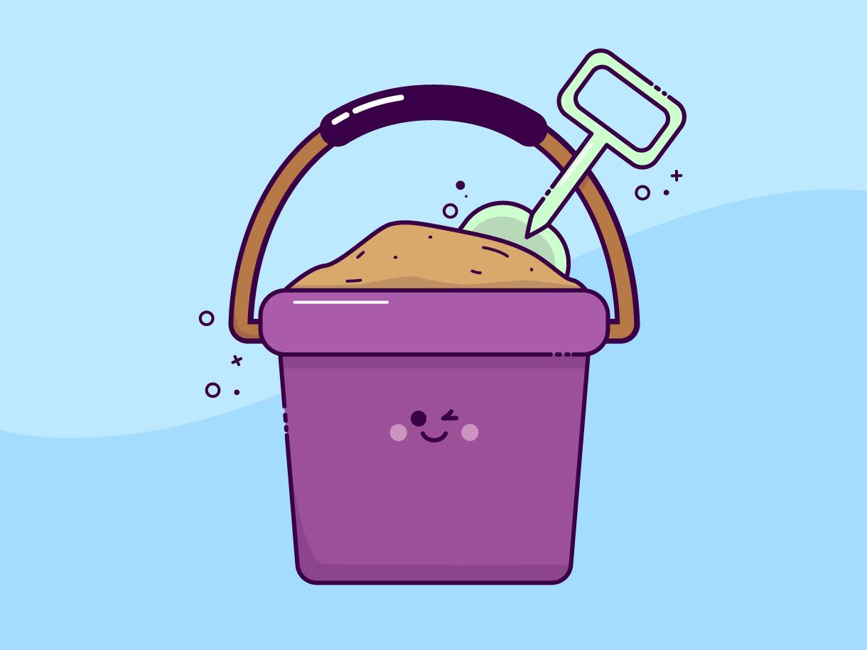 Bucket summertime kawaii kawai bucket sand summer design happy illustration character