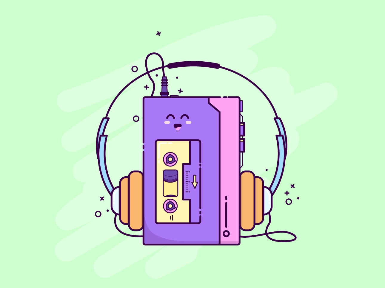 Walkmen jukebox tunes vector illustration design happy illustrator kawaii cassette tape music sony walkmen