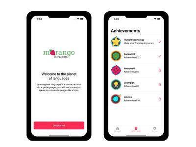 Morango Languages App icon vector branding morangolang android ui mobile language learning ios figma design app
