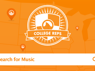 Grooveshark College Reps Theme grooveshark college seal shield ribbon map marker search orange white