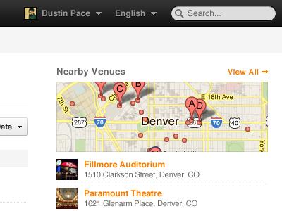 Grooveshark Events grooveshark events map venue city black orange