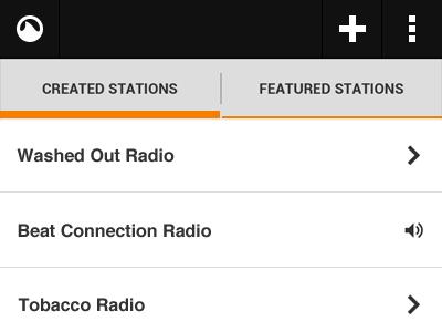 Grooveshark Radio App - Stations grooveshark android radio app stations create list tabs orange black white