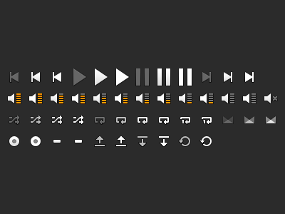 Player Icons grooveshark player icons play pause next previous volume mute shuffle repeat loop crossfade scrubber open close refresh