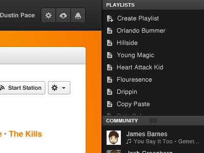 User Sidebar grooveshark sidebar playlists community share drag friends