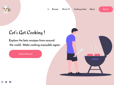 Cook Receipe - Web UI /  UX protopie ux invision undraw adobexd website web frontend ui figma design