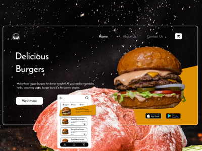 Burger Shop -  UI /  UX productdesign invision protopie dribbble best shot illustration branding ux adobexd website frontend ui figma design