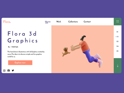 flora 3d -  ui dribbble best shot invision ux adobexd website web frontend ui figma design