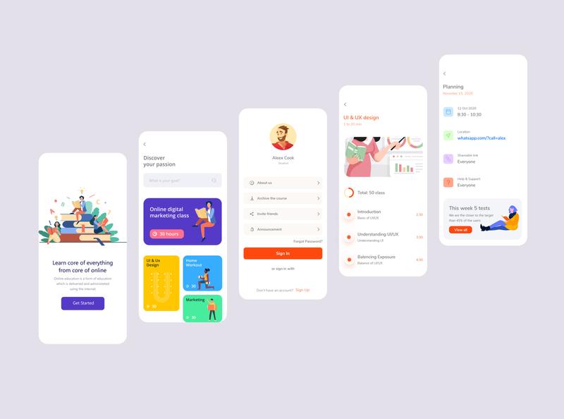 Online Learning App clean minimal simple ui online course educational app learning app learning ui app design
