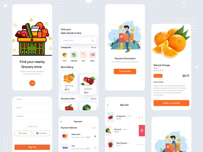 Groceries Mobile App Design commercial ecommerce clean interface illustraion grocery online minimal grocery store photoshop ui product simple ui uiux mobile ui fruit food delivery app groceries ui grocery app grocery