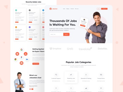 Job finder landing page job result job listing product design search ui ux mobile web dashboard job finder job board homepage layout uiux interface webdesign website ui design header job search