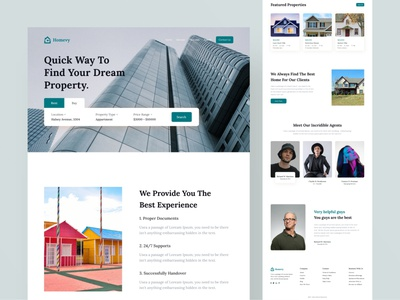 Homevy-landing-page uiux uidesign ui landing page website web design home page landing page design real estate real estate agent agency interior architechture property search agent design