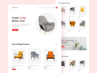 Furniture e-Commerce Website Landing Page Exploration furniture template creative landingpage home decor tech store ui designer brand design website design minimal e-commerce websites furniture store homepage uiux ui ecommerce shop interior multi store shop ecommerce