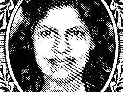 Sybil Bernard island brand logo resturaunt food portrait engrave stamp line illustration