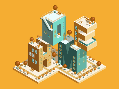 Isometry homes isometric letters letters isometry ui vector illustration