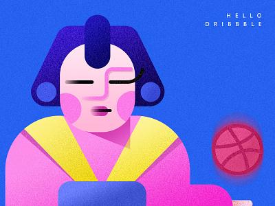 HELLO! debuts graphic blue dribbble design llustration