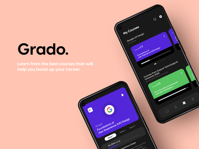 Grado - Learning App figma minimal ux ui design